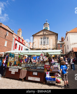 Street market in the old town square Whitby North Yorkshire England UK - Stock Photo