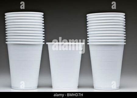 Stacked pile of disposable unused plastic cups - Stock Photo