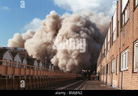 demolition of block of council flats in Hackney London England - Stock Photo