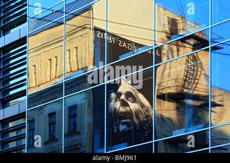 Reflection in glass window, Riga, Latvia - Stock Photo