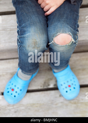 Closeup on knee and feets - Stock Photo