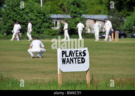 Village green cricket match and sign for players wanted - Stock Photo