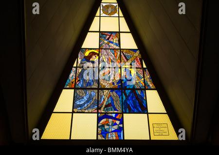South Africa, Johannesburg. Stained glass window at Regina Mundi Church, Soweto - Stock Photo