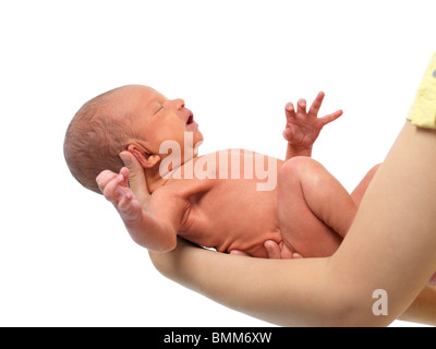 Newborn baby boy in mother's hands. Isolated on white background. - Stock Photo