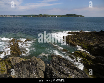 Pendennis head Falmouth view to St. Mawes and Carrick Roads - Stock Photo