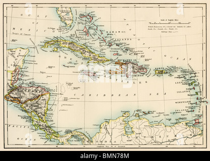 Map of the West Indies and the Caribbean Sea, 1800s. Color lithograph - Stock Photo