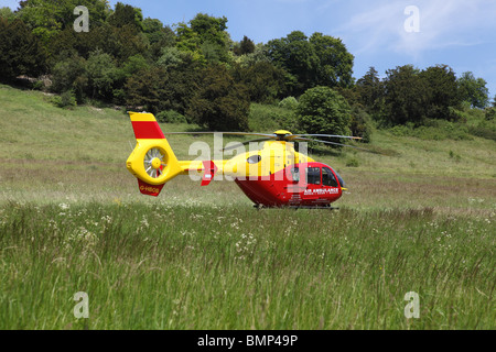 A air ambulance at a traffic accident on the ground - Stock Photo