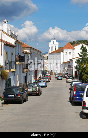 Village street, White washed village (pueblo blanco), Gaucin, Malaga Province, Andalucia, Spain, Western Europe. - Stock Photo