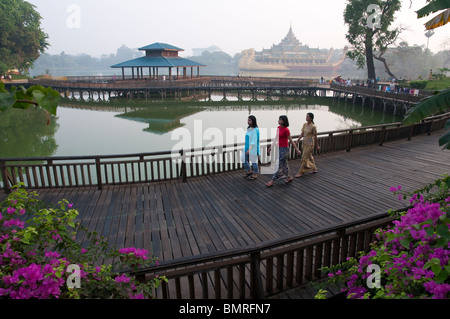 Myanmar. burma. yangon. Kandawgyi lake is a natural lake near the Shwedagon paya. It includes the Karaweik, - Stock Photo