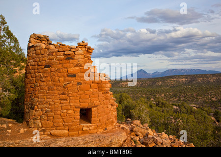 Ancient Puebloan tower at Painted Hand Pueblo, Canyons of the Ancients National Monument, west of Cortez, Colorado, - Stock Photo