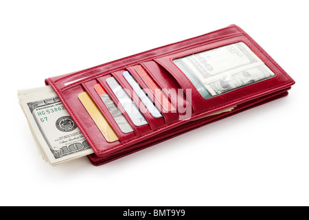 Red Wallet with money and Credit Card - Stock Photo
