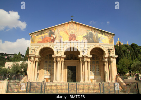 Israel, Jerusalem, the Basilica of the Agony or the Church of all Nations at the Garden of Gethsemane - Stock Photo