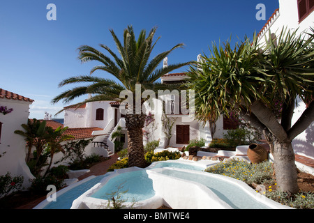 luxury spanish villa with water feature in courtyard - Stock Photo