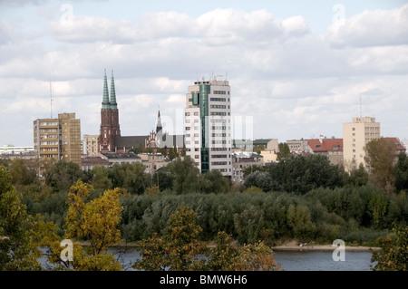 Aerial, panoramic view of the Praski, Praga district skyline of St. Florian's Church by  Vistula, Wisla River, Warsaw, - Stock Photo