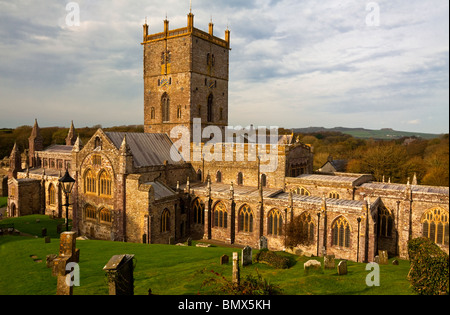 St Davids Cathedral in St Davids in the county of Pembrokeshire on the most western tip of South Wales UK built - Stock Photo