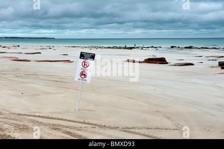A sign on Cable Beach Broome Australia  indicating where the cars are permitted onto the beach. - Stock Photo