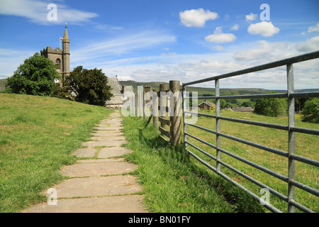 The Footpath for the Pennine way as it approaches Hawes in Wensleydale, Yorkshire Dales national park, England - Stock Photo