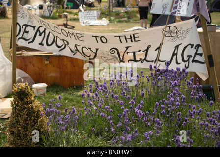 Peace camp (Democracy Village) in Parliament square, welcome sign. June 2010 - Stock Photo