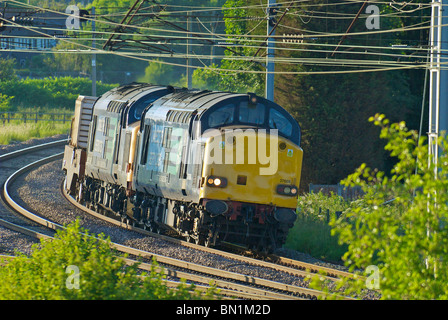 Direct Rail Services Class 37 diesel locomotives 37608 and 37423 seen hauling a nuclear fuel cask on the West Coast - Stock Photo