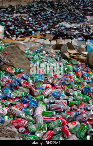 Aluminum cans and glass bottles gathered for recycling in Gyantse, Tibet - Stock Photo
