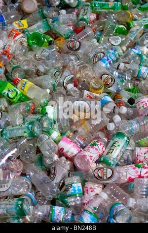 Plastic bottles gathered for recycling in Gyantse, Tibet - Stock Photo