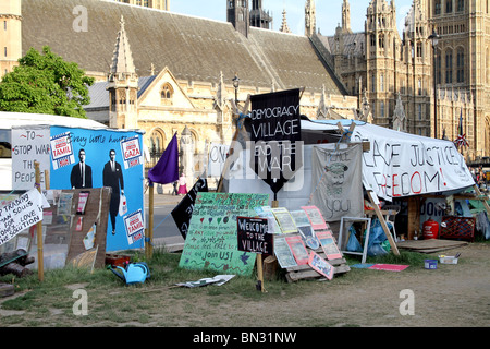 Parliament Square Peace Camp outside the Houses of Parliament, London, England - Stock Photo