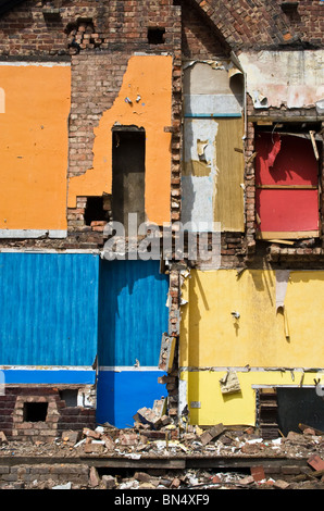 Terraced houses being demolished, Charlestown/ Lower Kersal area of Salford, Greater Manchester, UK - Stock Photo