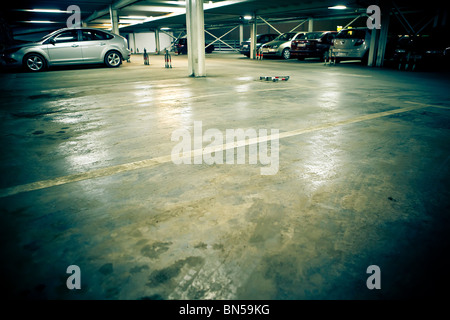 Parking garage - underground interior - Stock Photo