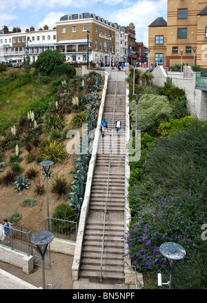 Steps leading from the seafront up to Pier Hill at Southend on Sea in Essex - Stock Photo