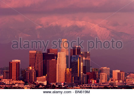 Downtown Los Angeles Winter Storm, California - Stock Photo