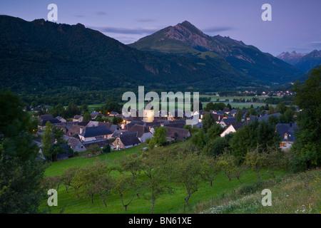 Dawn illuminates the charming Village d'Aucun, Hautes- Pyrenees, France - Stock Photo