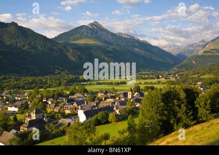 Morning light illuminates the charming Village d'Aucun, Hautes- Pyrenees, France - Stock Photo