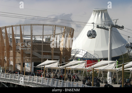 Mt Fuji shaped 'Mountain of Dreams' pavilion and Gas Pavilion at World Expo 2005, Aichi, Japan - Stock Photo