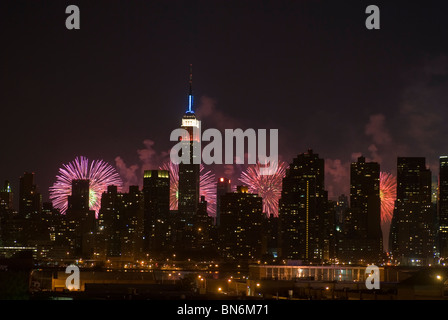 34th annual Macy's Fourth of July fireworks display in New York on Sunday, July 4, 2010. - Stock Photo