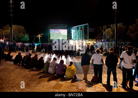 German and Serbian supporters watching the Germany v Serbia World Cup 2010 game at the Northbridge Piazza Soccer - Stock Photo