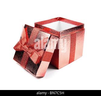 Opened red shining gift box isolated on white. - Stock Photo