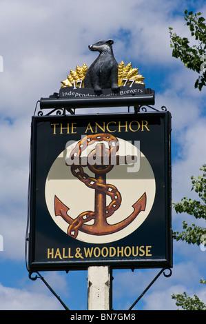 The Anchor Public House Sign Pyrford Surrey England - Stock Photo