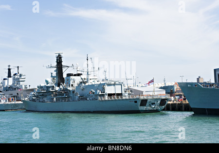 British Royal Navy Warship Type 23 Frigate HMS Lancaster F229 Docked at Portsmouth Naval Dockyard England United - Stock Photo