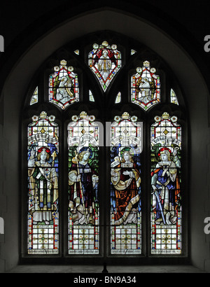 A stained glass window depicting four Archangels, Gabriel, Raphael, Uriel and Michael; Parish Church Egloskerry, - Stock Photo