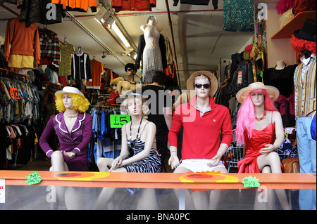 Camden market mannequins displaying fashionable summer clothes. London. - Stock Photo