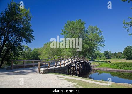 Concord, Massachusetts - North Bridge in Minute Man National Historical Park, where the American Revolution began - Stock Photo