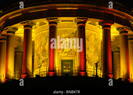 Victory Column. Siegessauele, portico with glass mosaics, illuminated during the annual Festival of Lights, Berlin, - Stock Photo