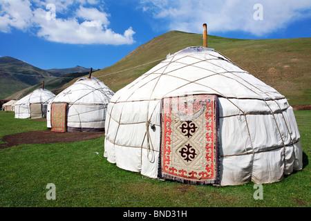 Yurts, Tash Rabat Valley, Kyrgyzstan - Stock Photo