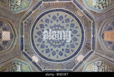 Interior of a mausoleum in the Shah-i-Zindi, the avenue of mausoleums, Samarkand, Uzbekistan - Stock Photo