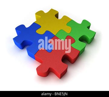Four puzzle pieces - Stock Photo