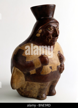Seated warrior stirrup spout vessel from Moche IV  Peru  USA  Florida  Jacksonville  The Museum of Contemporary - Stock Photo