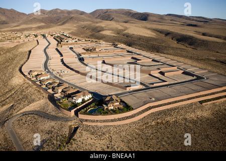 Aerial view of a construction site, Las Vegas, Clark County, Nevada, USA - Stock Photo