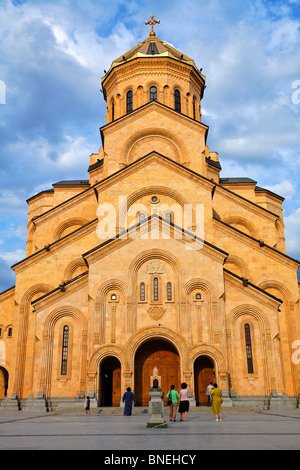 Tsminda Sameba Cathedral, Tbilisi, Georgia - Stock Photo