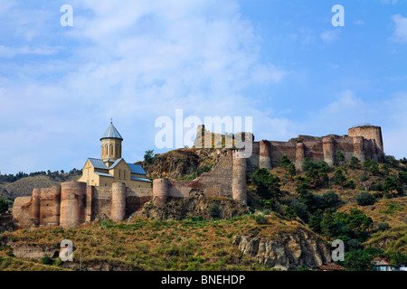Narikala Fortress and the church of St Nicholas, Tbilisi, Georgia - Stock Photo