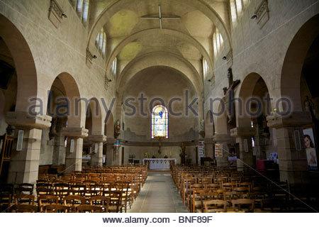 Interior of church of Notre Dame in Dun-le-Palestel. La Creuse, Limousin, France. - Stock Photo